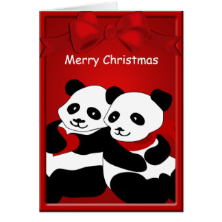 Panda Bear Love Couple Merry Christmas Greeting Greeting Card