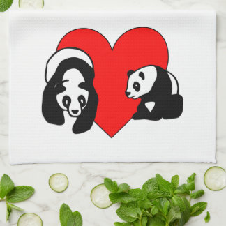 Panda Bear Love Kitchen Towel