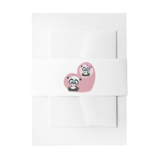 Panda Bear Love Pink Heart Wedding Party Invitation Belly Band