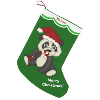 Panda Bear Merry Christmas Personalized Small Christmas Stocking