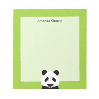 Panda Bear Modern Green Personalized Notepads