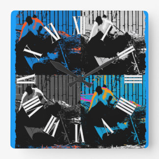 Panda Bear Multi-panel Modern Art Design Square Wall Clock