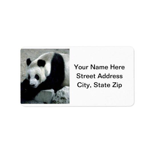 Panda Bear on Rocks Label