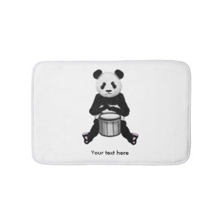 Panda Bear Playing The Drums Illustration Bathroom Mat