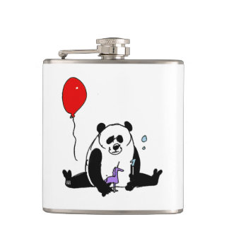 Panda Bear playing with Soapbubble and Unicorn Hip Flask