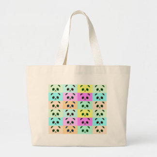 Panda Bear Pop Art Yellow Pink Blue Large Tote Bag