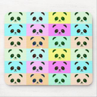 Panda Bear Pop Art Yellow Pink Blue Mouse Pad