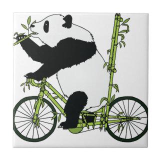Panda Bear Riding Bamboo Bike Tile