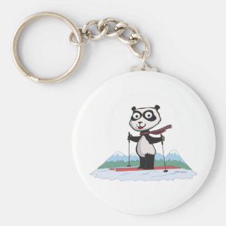 Panda Bear Skiing Keychain