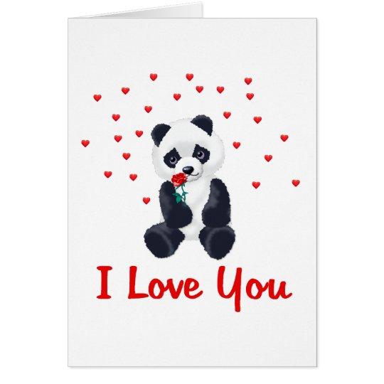 Panda Bear Valentine Card