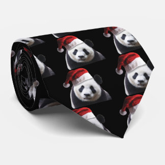 Panda Bear Wearing a Santa Claus Hat Tie