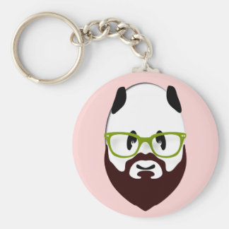Panda Bear with a Beard Basic Round Button Keychain