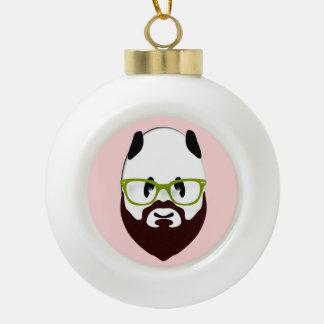 Panda Bear with a Beard Ornament