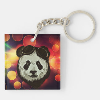 Panda Bear with Bokeh Art Double-Sided Square Acrylic Keychain