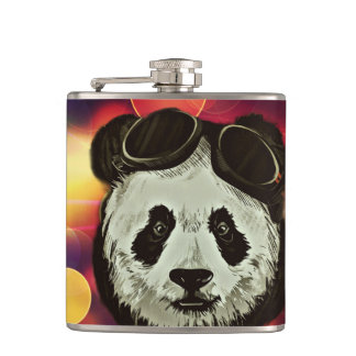 Panda Bear with Bokeh Art Flasks