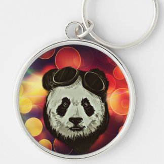 Panda Bear with Bokeh Art Silver-Colored Round Keychain