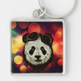 Panda Bear with Bokeh Art Silver-Colored Square Keychain