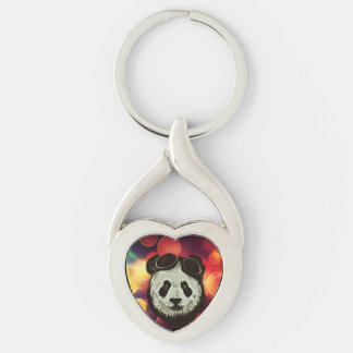 Panda Bear with Bokeh Art Silver-Colored Twisted Heart Keychain