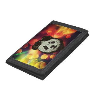 Panda Bear with Bokeh Art Trifold Wallets