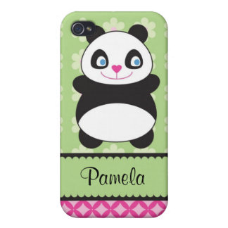 Panda Bear With Flower Pattern Speck Case Covers For iPhone 4
