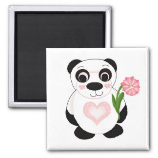 Panda Bear with Flowers Magnet