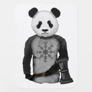 Panda Bear With Viking Hammer Receiving Blanket