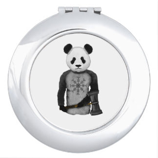 Panda Bear With Viking Hammer Travel Mirror
