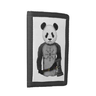 Panda Bear With Viking Hammer Tri-fold Wallets