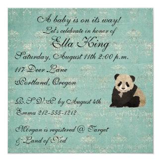 "Panda Bears Baby Invitation 5.25"" Square Invitation Card"