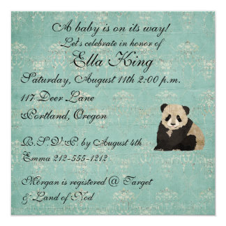 Panda Bears Baby Invitation