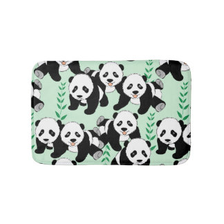 Panda Bears Graphic Pattern Bath Mat