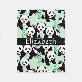 Panda Bears Graphic Pattern to Personalize Fleece Blanket
