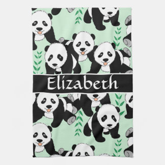 Panda Bears Graphic Personalize Towel