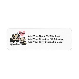 Panda Bears I Love Grandma Return Address Label