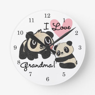 Panda Bears I Love Grandma Wall Clock