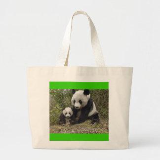 Panda bears large tote bag
