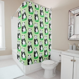 Panda Bears Pattern Light Green Shower Curtain
