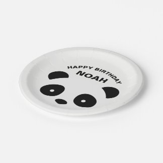 Panda Birthday Plates, white and black Paper Plate