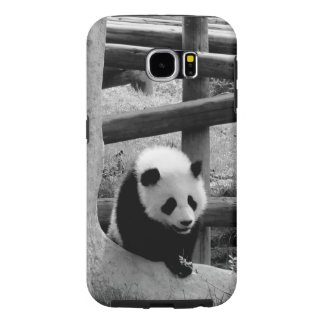 Panda - Black and White Photograph Samsung Galaxy S6 Cases