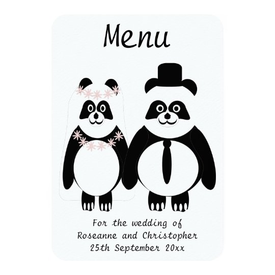 Panda Black And White Wedding Menu Card