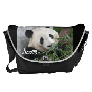 Panda, Black Background, Large Messenger Bag