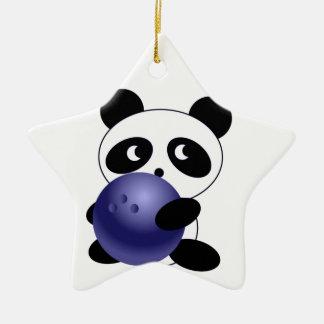 Panda bowling ceramic ornament