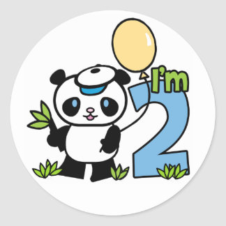 Panda Boy 2nd Birthday Classic Round Sticker
