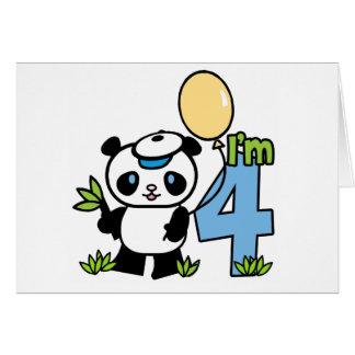 Panda Boy 4th Birthday Invitations Note Card