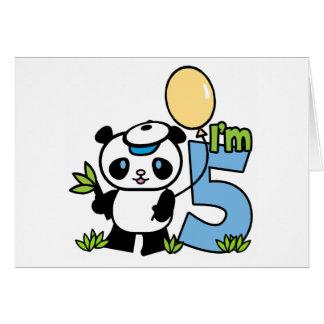 Panda Boy 5th Birthday Invitations Note Card