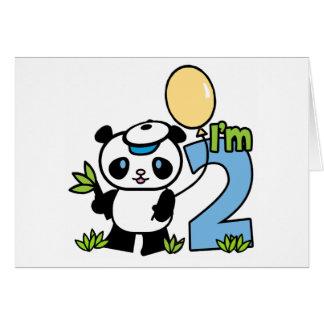 Panda Boy First Birthday Invitations Note Card