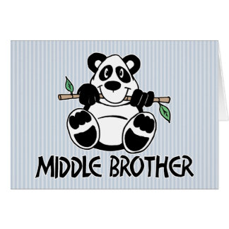 Panda Boy Middle Brother Greeting Cards