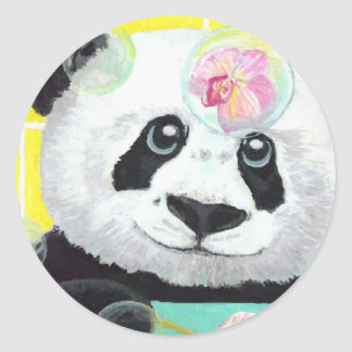 Panda Bubbles Round Sticker