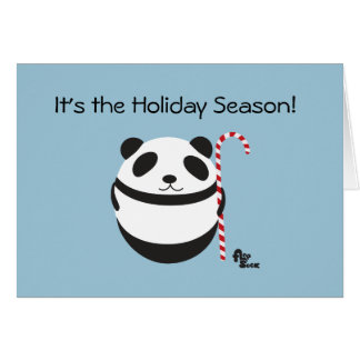 Panda Candy Cane Holiday Card