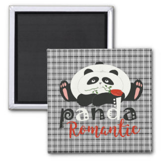 Panda Cartoon Cute Funny Romantic Tartan Chic Magnet